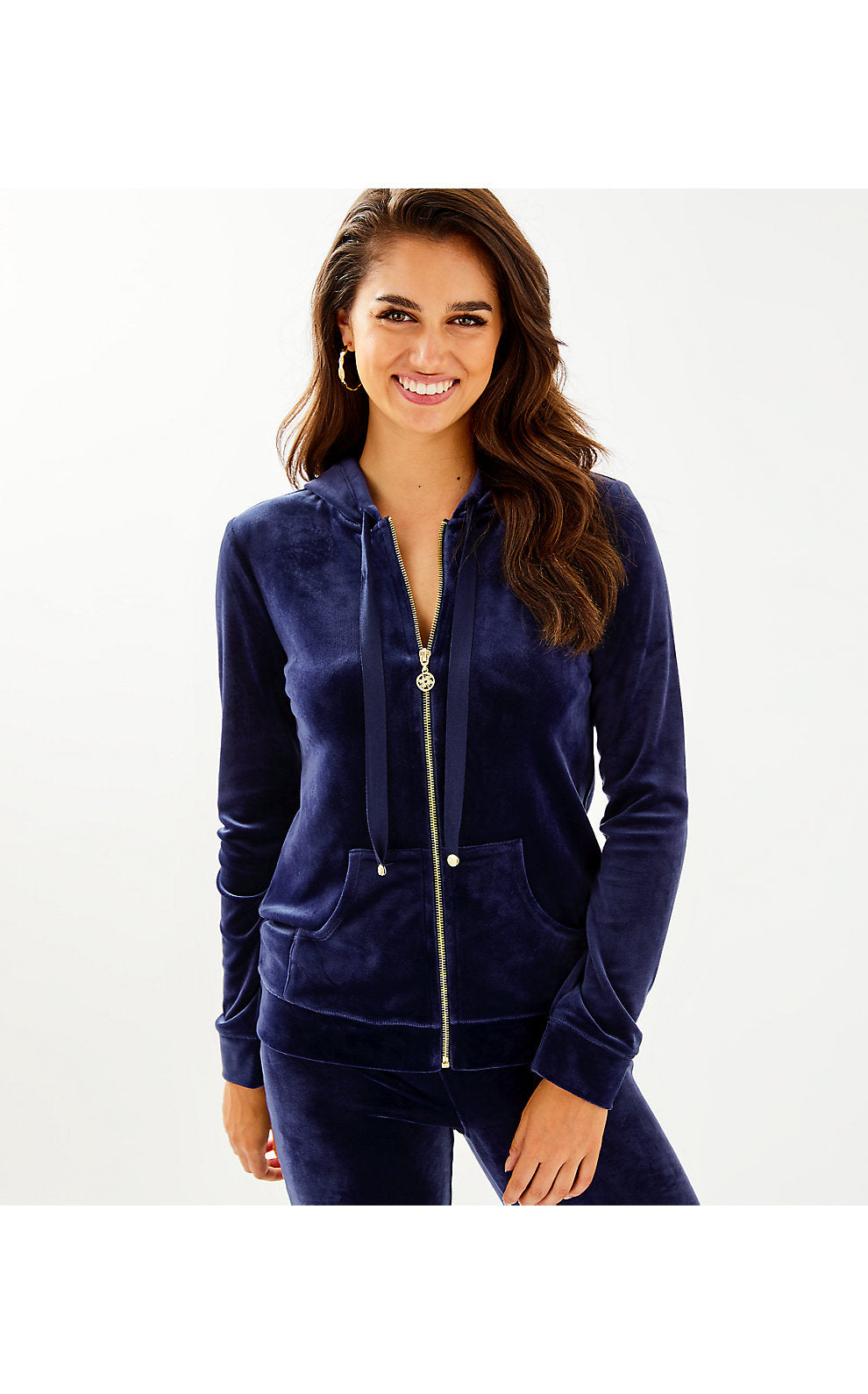 Larina Velour Zip Up Hoodie True Navy