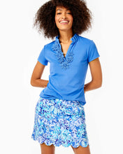 Load image into Gallery viewer, Frida Flower Polo Upf 50+ Saltwater Blue