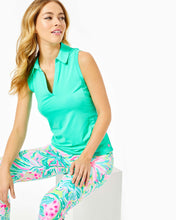 Load image into Gallery viewer, UPF 50+ Luxletic Imara Sleeveless Polo Top Gustavia Green
