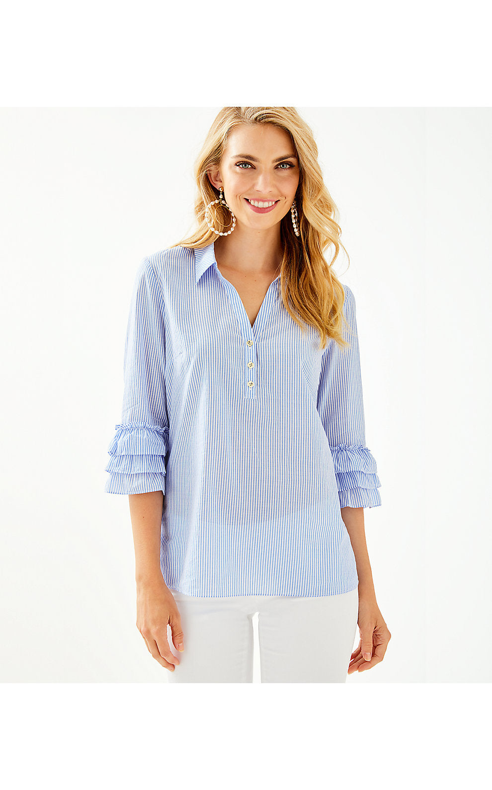 Judith Top Saltwater Blue      Island Jungle Stripe