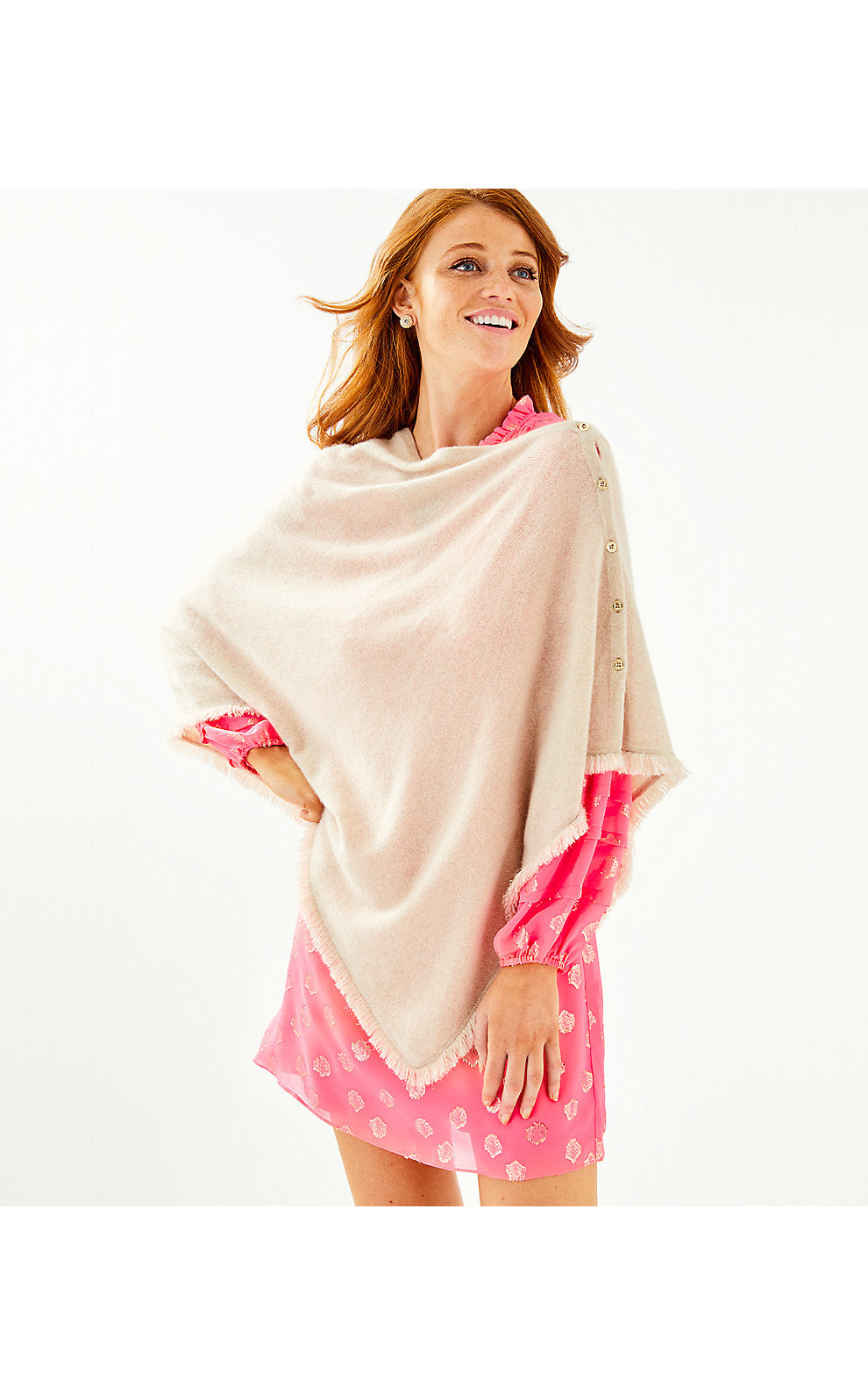 Harp Cashmere Fringe Wrap Heathered Palm Beach