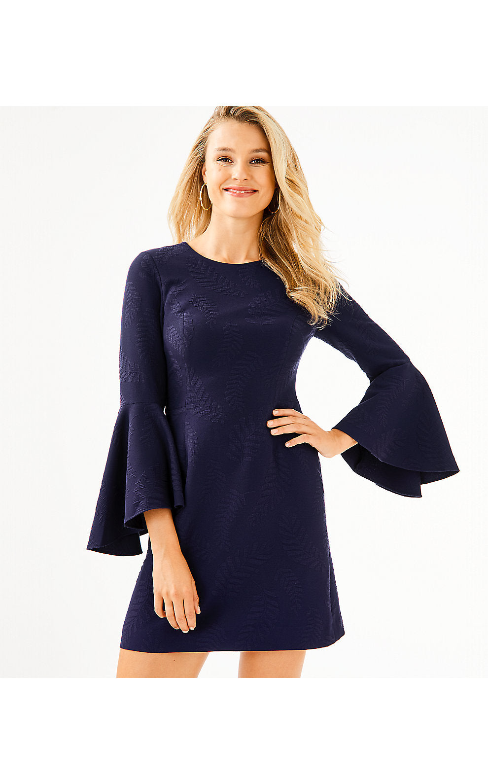 KAYLA STRETCH DRESS TRUE NAVY           FERN PUCKER JACQUARD