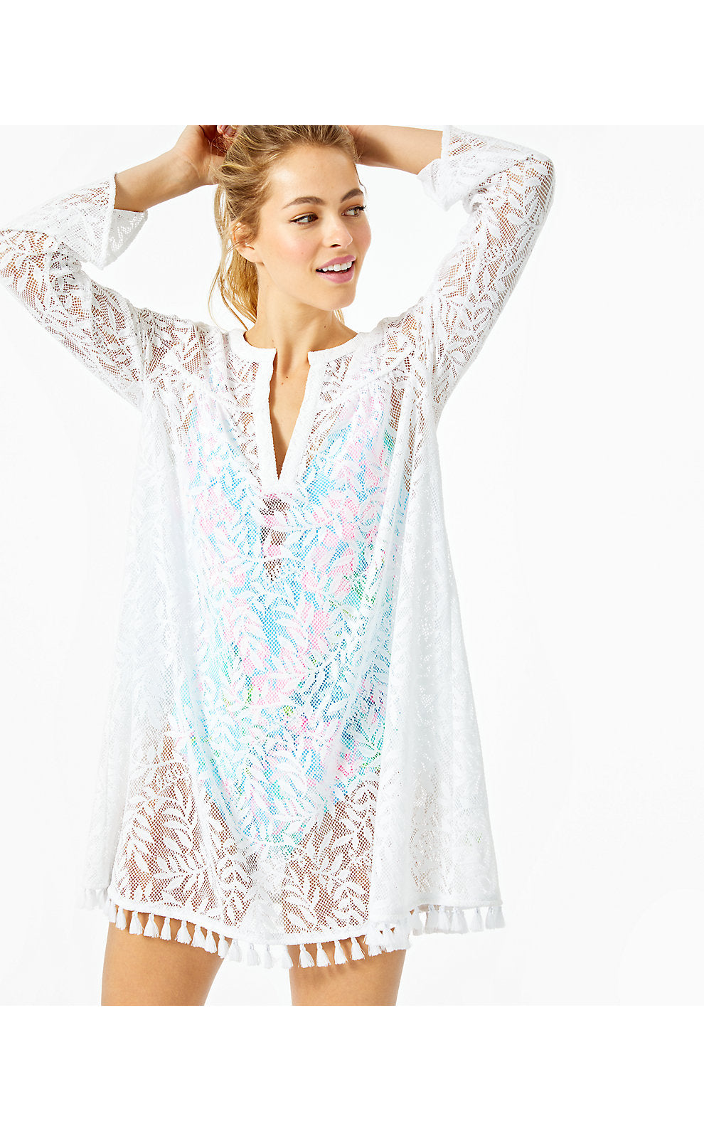Kizzy Coverup Resort White Swirling Leaf Lilly