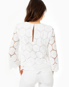 Mariella Scalloped Lace Top Resort White Floral Scallop Eyelet