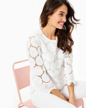 Load image into Gallery viewer, Mariella Scalloped Lace Top Resort White Floral Scallop Eyelet
