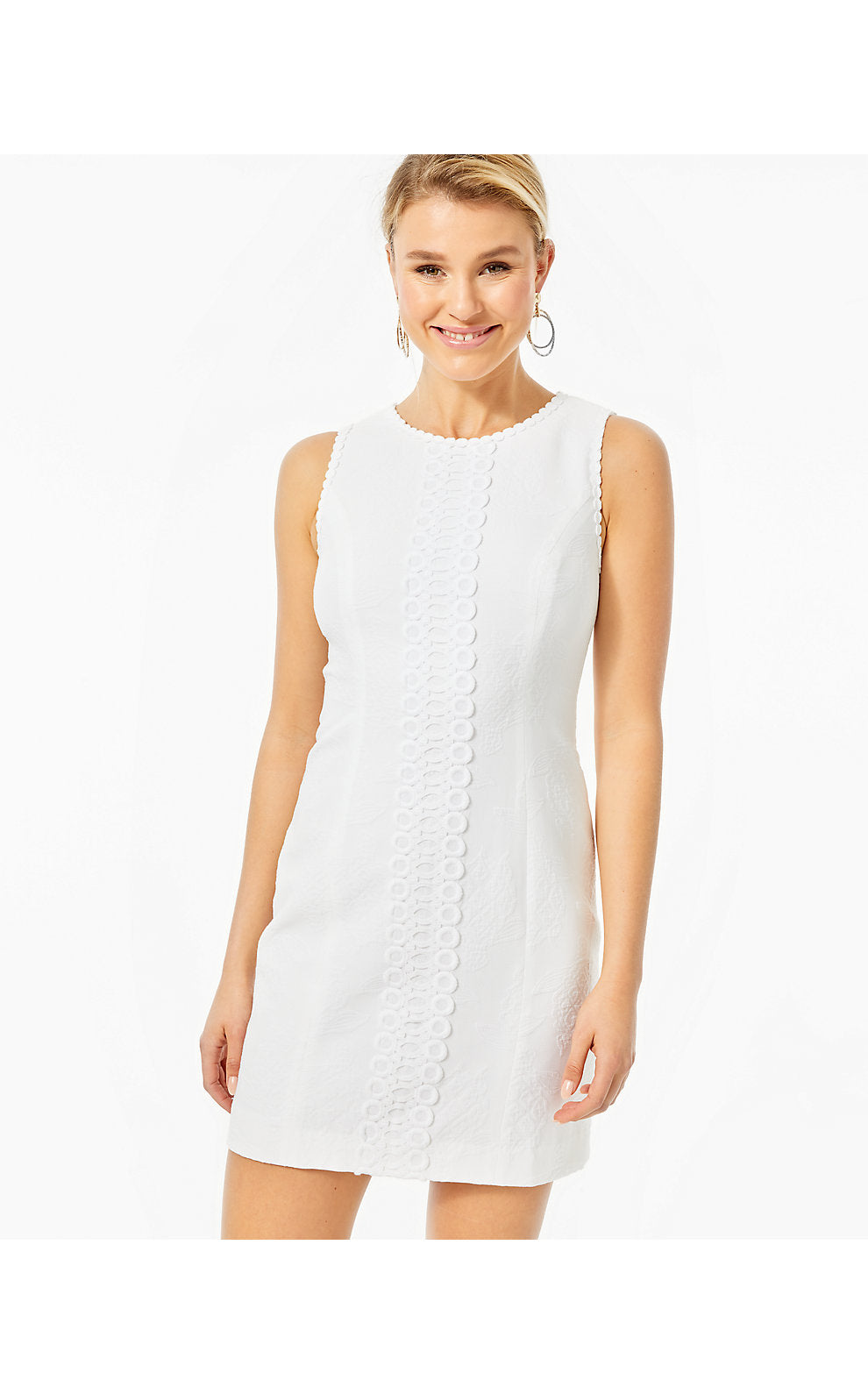 Mila Stretch Shift Resort White Turtle Pucker Jacquard