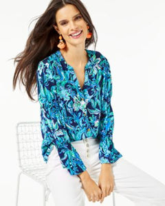 Maritza Top High Tide Navy Take It Or Leaf It