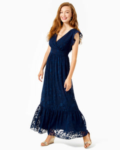 Autumn Midi Dress True Navy           Botanical Shadow Clip Chiffon