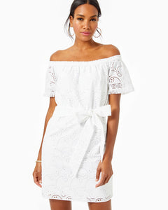 Shanelle Off-The-Shoulder Dress Resort White Swirl Eyelet