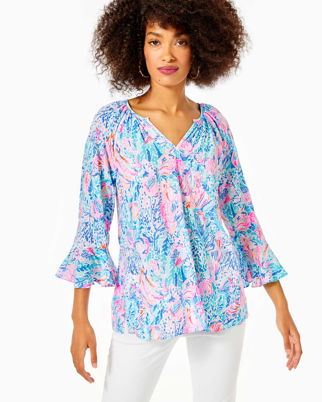 Willa Flounce Sleeve Top Multi               Treasure Trove