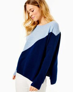 Napa Cashmere Sweater Oxford Blue         Diagonal Color Block