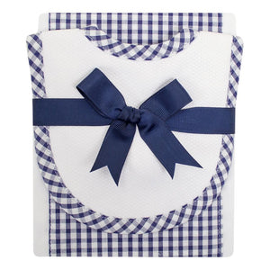 Royal Blue & White Bib & Burp Set
