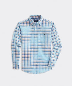 VV Classic Fit Plaid Linen Shirt - Flamingo