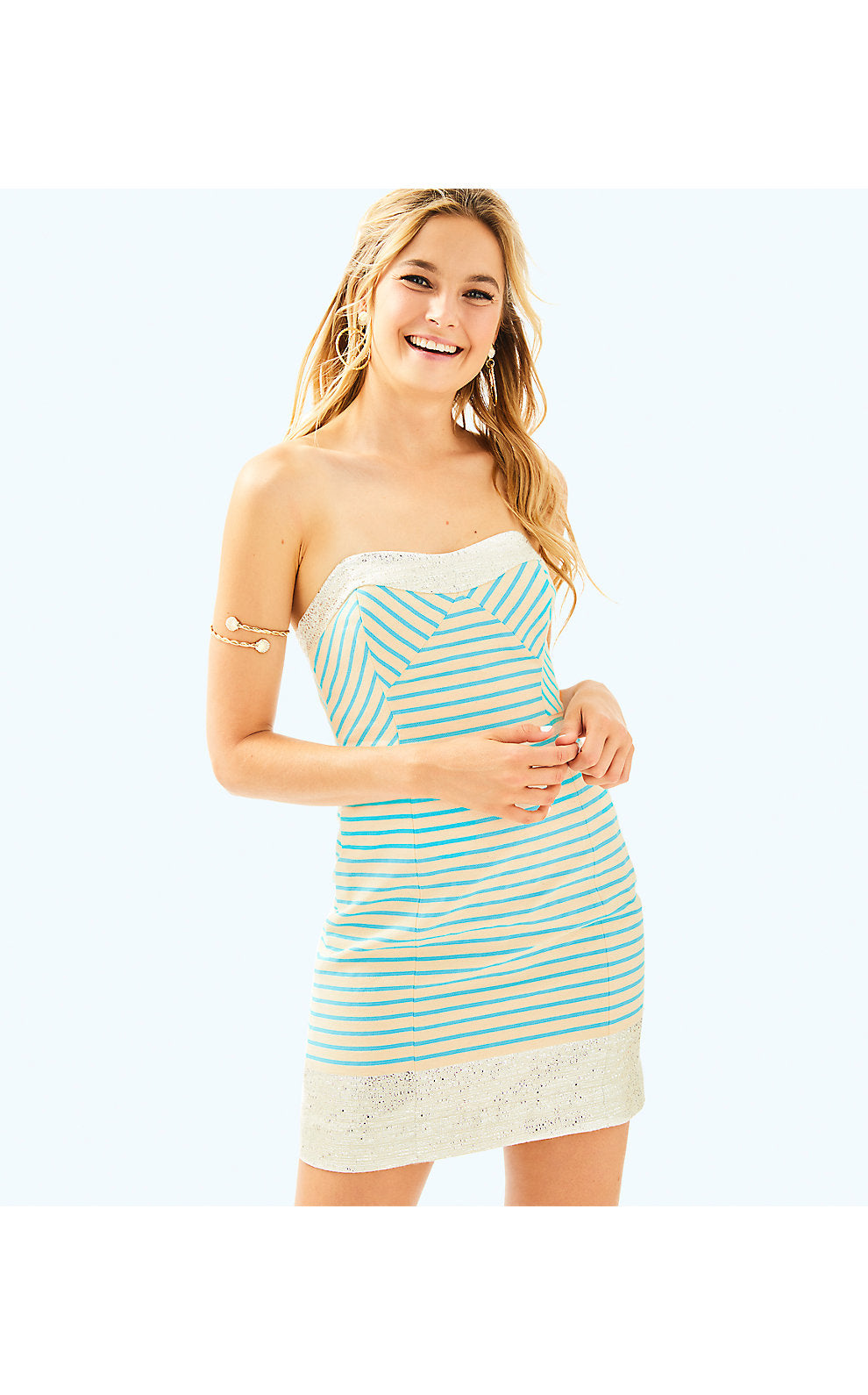 Remi Dress Blue Horizon Bayview Stripe Metallic