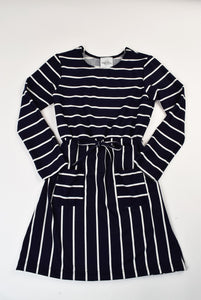 Long Sleeve Navy Stripe Dress