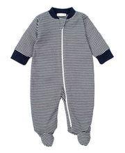 Load image into Gallery viewer, Zip Navy Stripe Footie