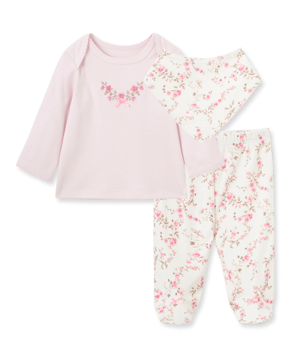 3Pc Lt Pink Pant Set