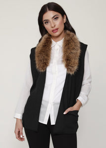 Women's Knit Vest w/ Fur