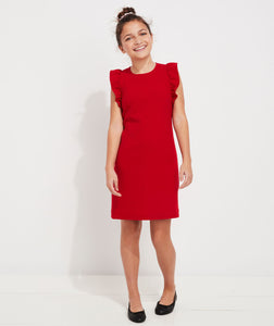 VV Girls' Ponte Flutter Sleeve Dress