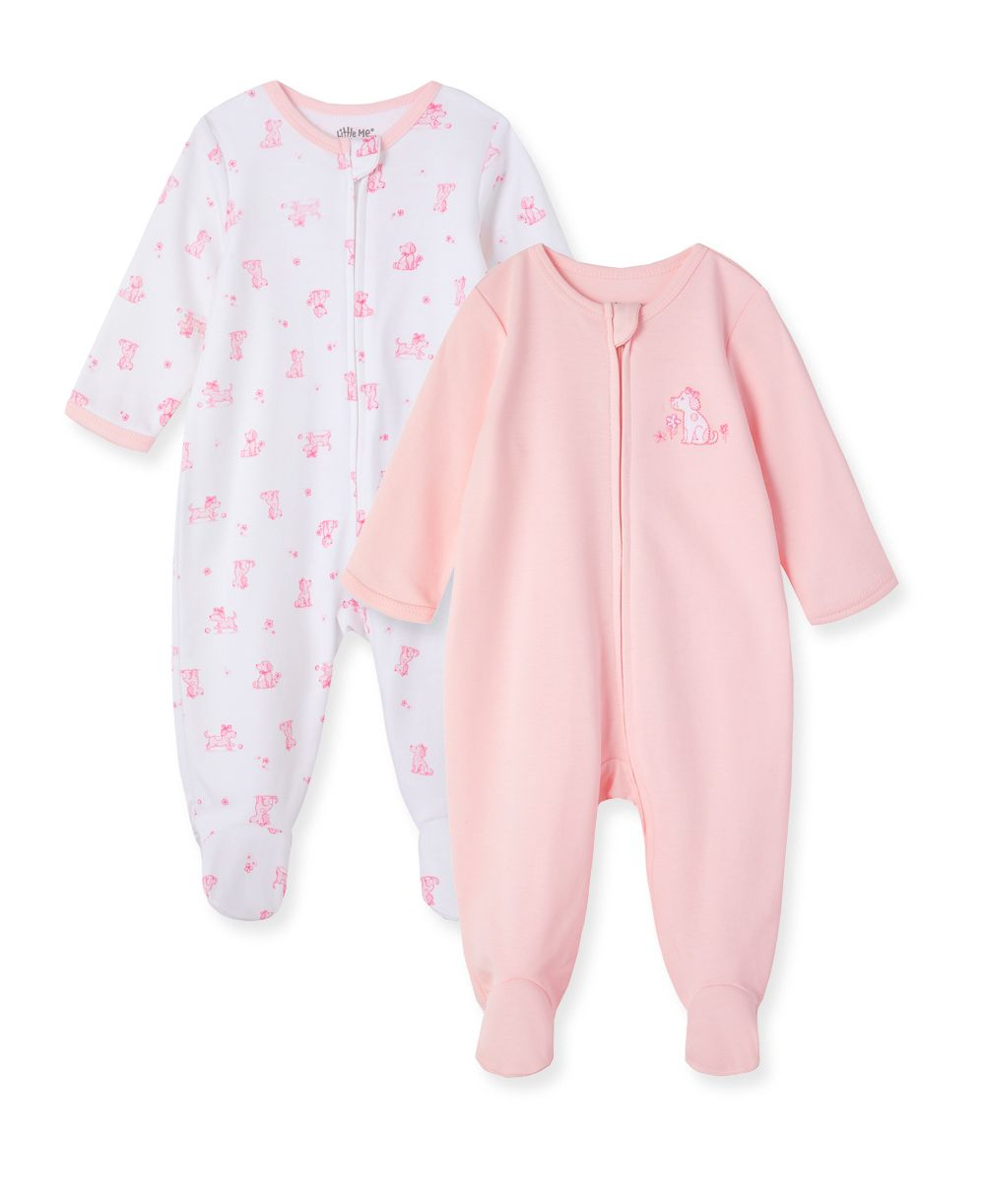 2Pc Pink Doggie Footie