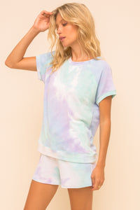 Women's Short Sleeve Tie Dye Top