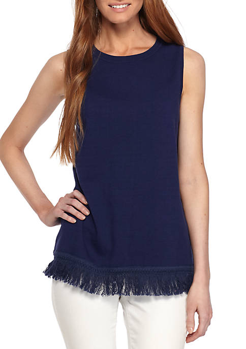 Sail to Sable Sleeveless Fringe Sweater Navy