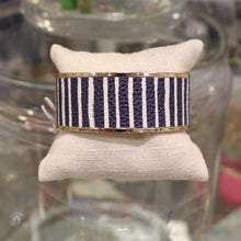 Load image into Gallery viewer, Navy & White Cuff Bracelet