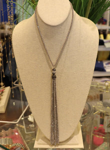 Gray Metallic Drop Necklace