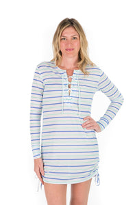 UPF 50 Lace Up Dress - Pelican Stripe