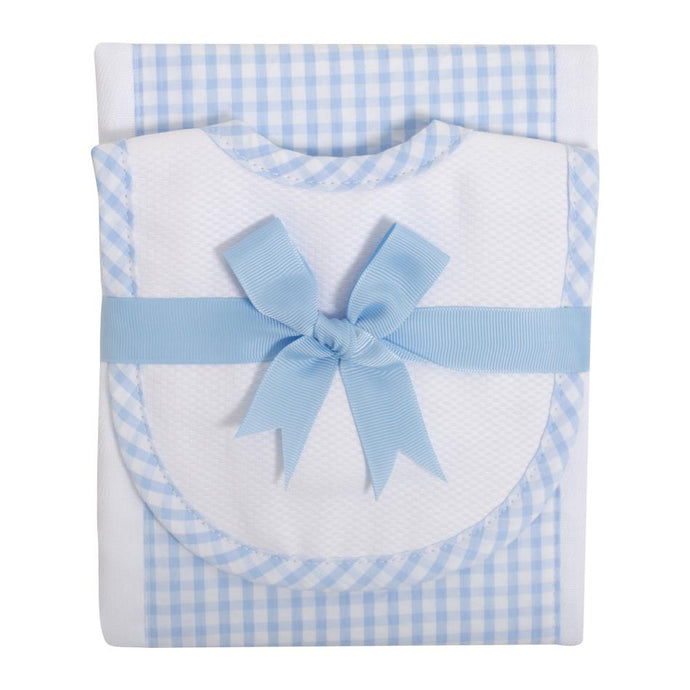 Lt. Blue & White Bib & Burp Set