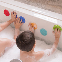 Load image into Gallery viewer, BATHIN' SMART RAINBOW SPOTS SILICONE BATH TOY AND SCRUB FOR KIDS AND TODDLERS, 7-PACK.