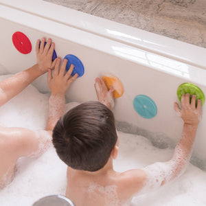 BATHIN' SMART RAINBOW SPOTS SILICONE BATH TOY AND SCRUB FOR KIDS AND TODDLERS, 7-PACK.