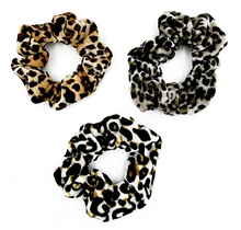 Load image into Gallery viewer, Leopard Velvet Scrunchies