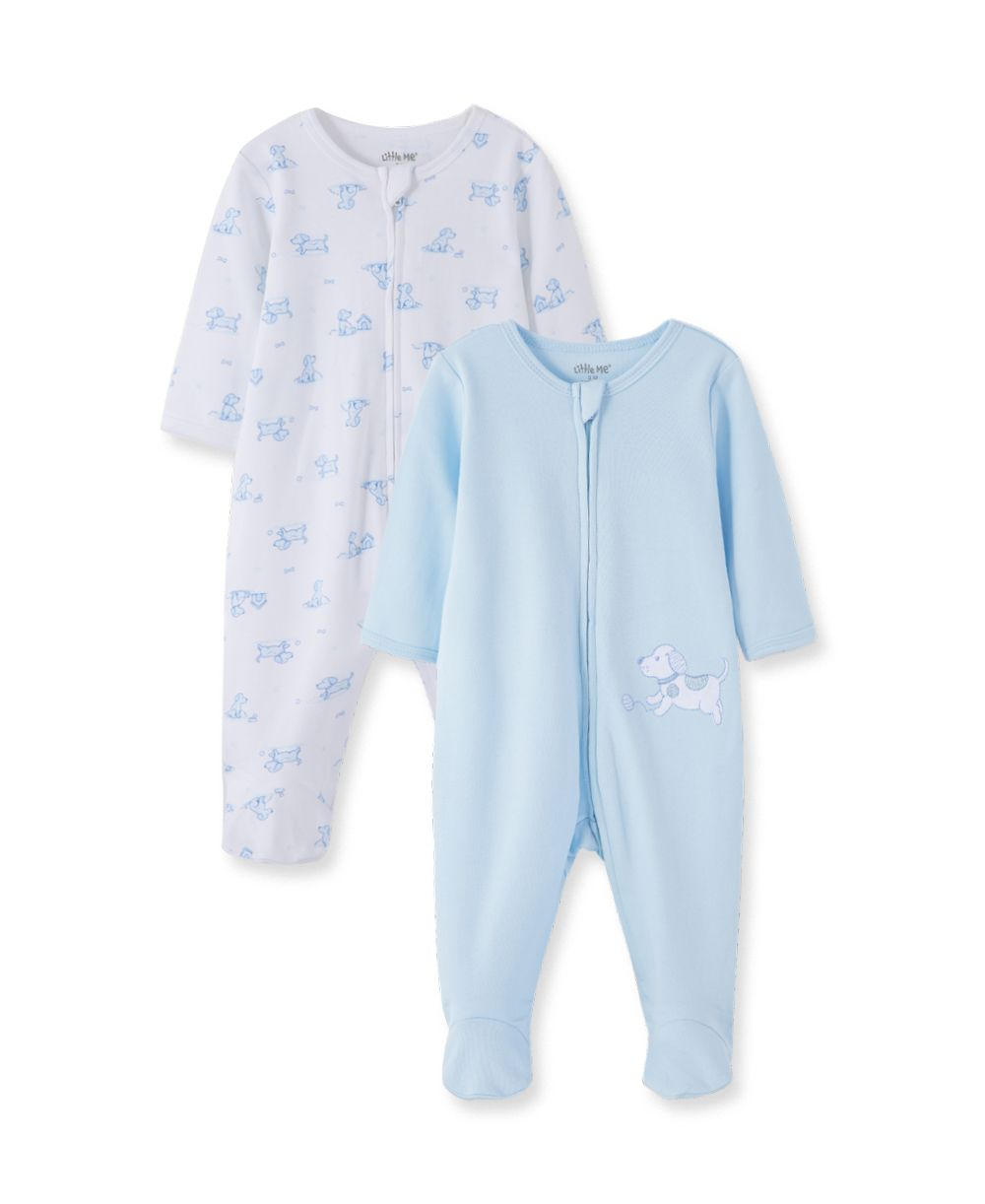 2Pc Blue Doggie Footies