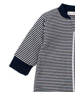 Zip Navy Stripe Footie