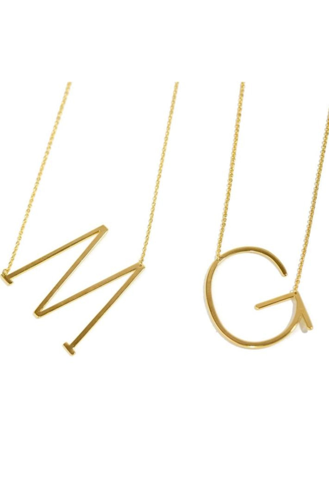 Large Gold Initial Sideways Necklace