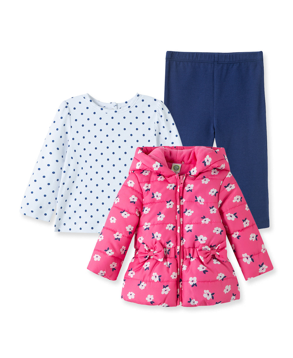 3PC Pink Flower Jacket Set