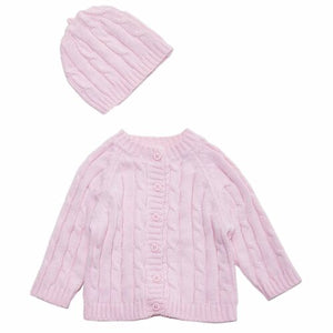 Pink Cable Sweater & Hat Set