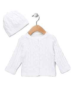 White Cable Sweater & Hat Set