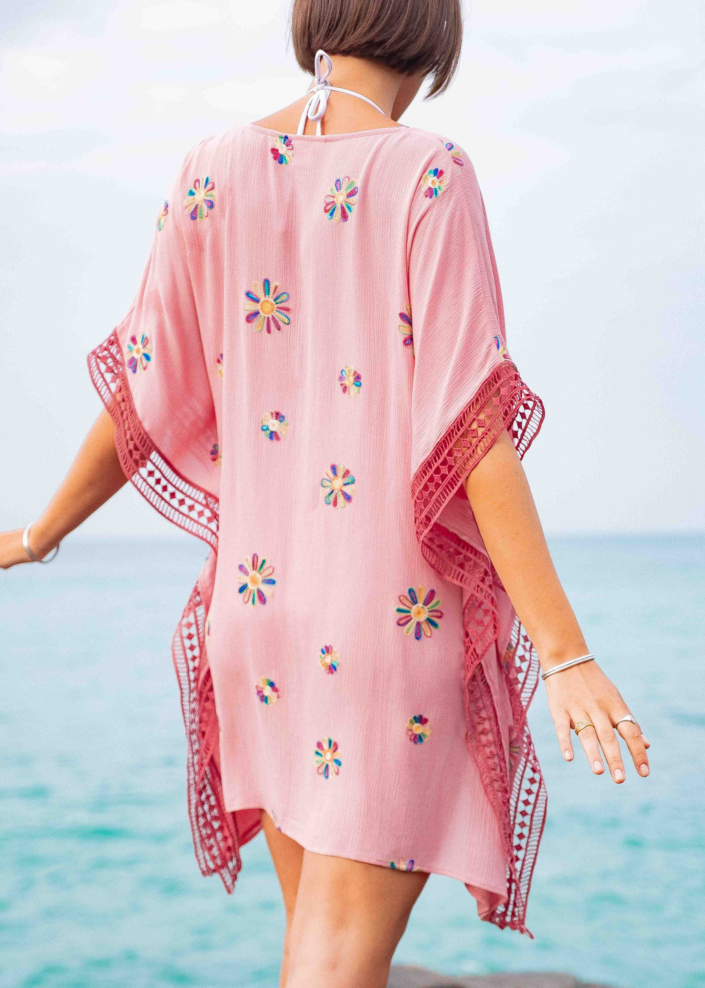 Horizon Kaftan | Rose Pink Embroidery
