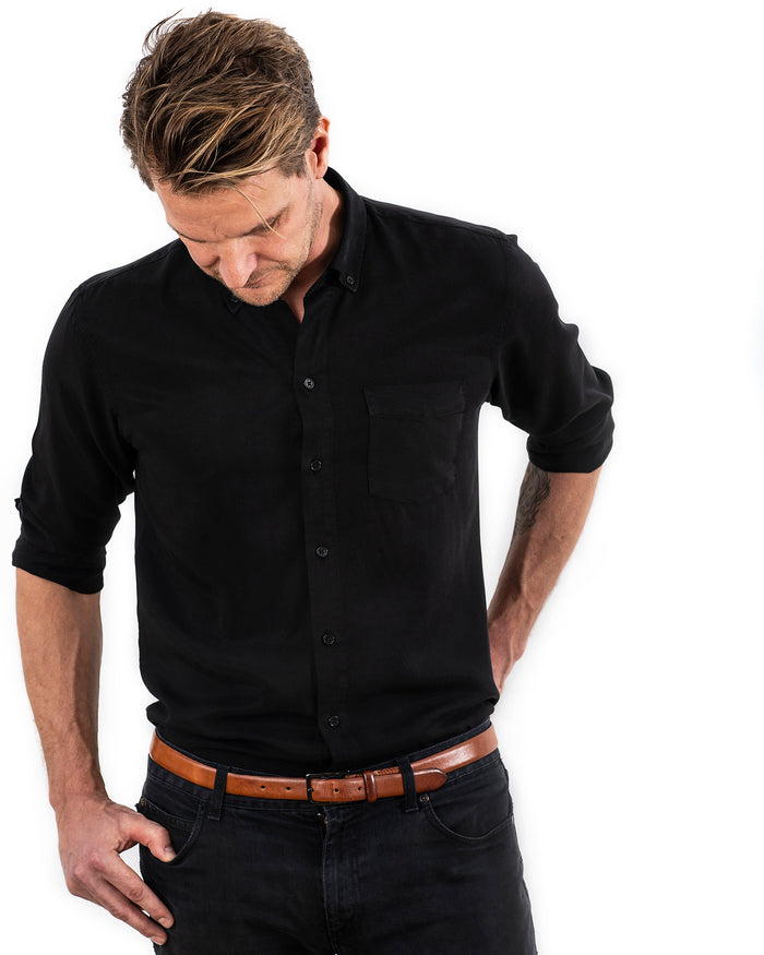 TENCEL SHIRT BLACK (4350838603876)