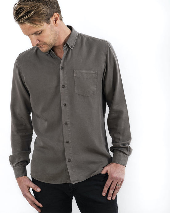 TENCEL SHIRT ARMY OLIVE (4350841585764)