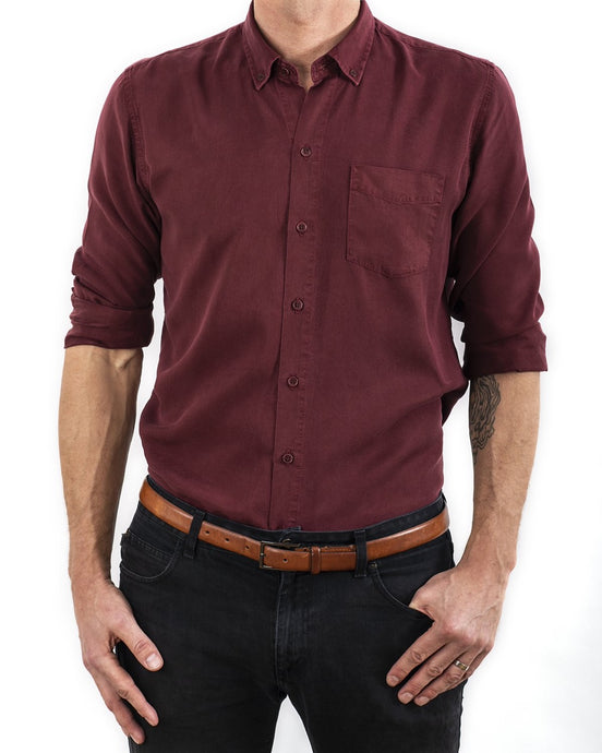 TENCEL SHIRT DEEP BURGUNDY (4350842273892)