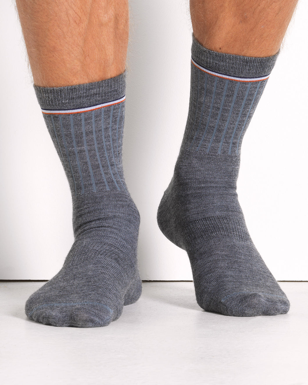 MERINO SOCK GREY MELANGE- 2 PACK (1599754633274)