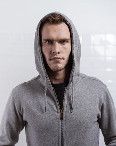 THE ZIP HOODIE GREY MELANGE
