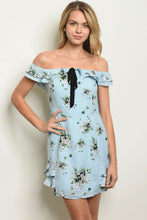 Load image into Gallery viewer, Blue Floral Lace Dress