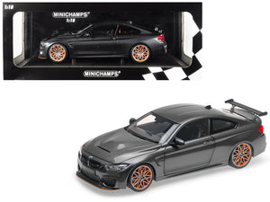 2016 BMW M4 GTS Metallic Gray with Carbon Top and Orange Wheels Limited Edition to 402 pieces Worldwide 1/18 Diecast Model Car by Minichamps