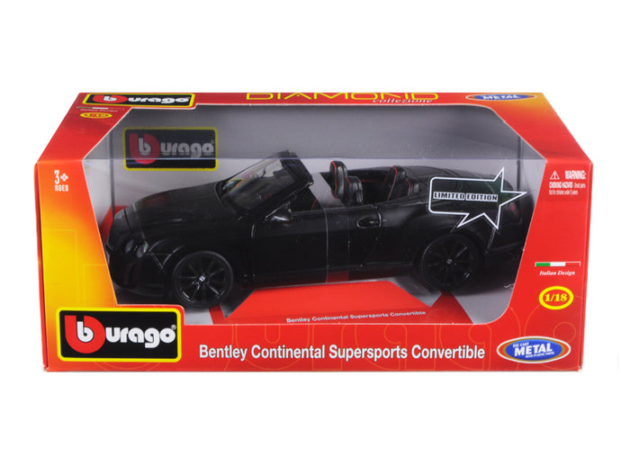 Bentley Continental Supersports Convertible Matt Black 1/18 Diecast Car Model by Bburago | Allshop.store
