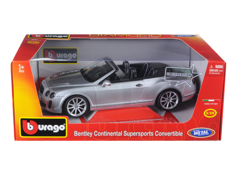 Bentley Continental Supersports Convertible Silver 1/18 Diecast Car Model by Bburago | Allshop.store