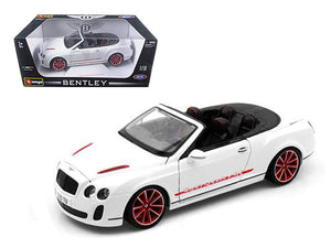 2012 2013 Bentley Continental Supersports ISR Convertible White 1/18 Diecast Model Car by Bburago | Allshop.store